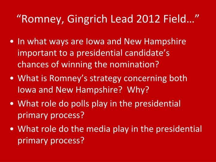 """Romney, Gingrich Lead 2012 Field…"""