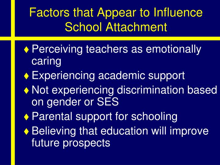 Factors that Appear to Influence School Attachment