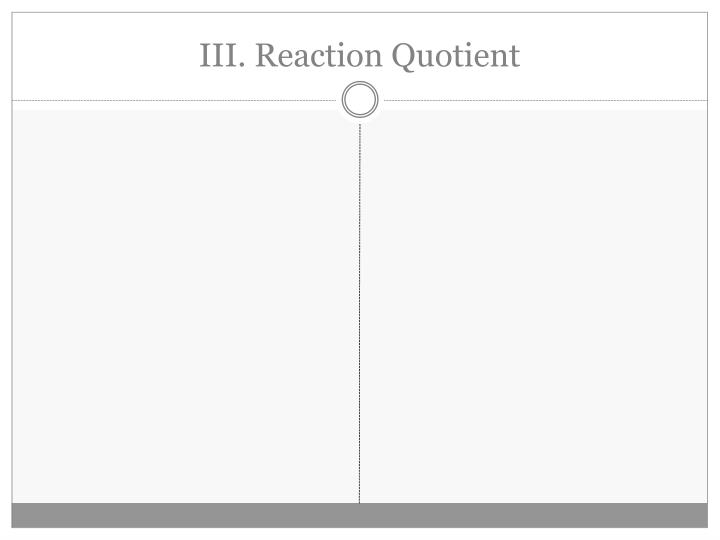 III. Reaction Quotient