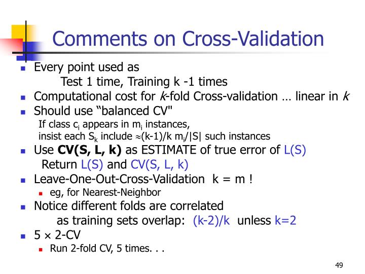 Comments on Cross-Validation