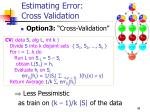 estimating error cross validation