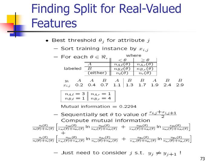 Finding Split for Real-Valued Features