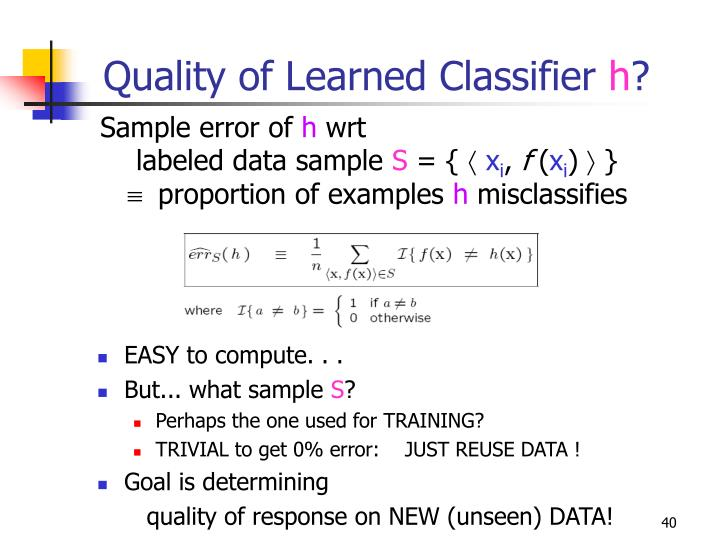 Quality of Learned Classifier