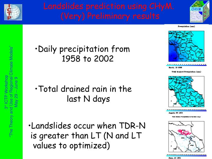 Landslides prediction using CHyM.