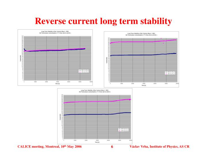 Reverse current long term stability