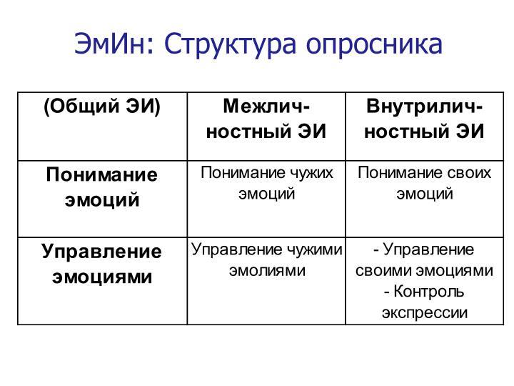 ЭмИн: Структура опросника