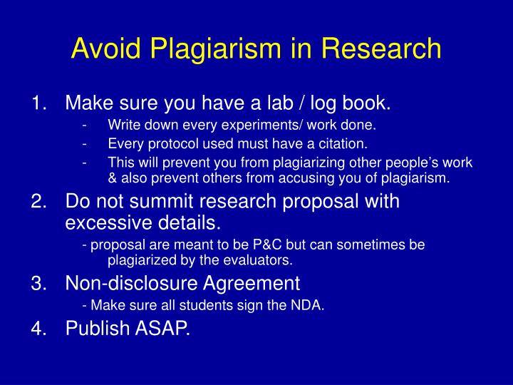Avoid Plagiarism in Research