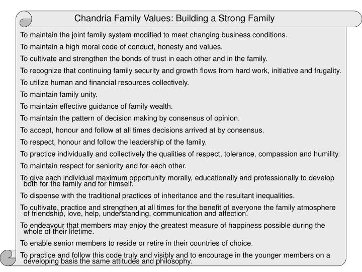 Chandria Family Values: Building a Strong Family