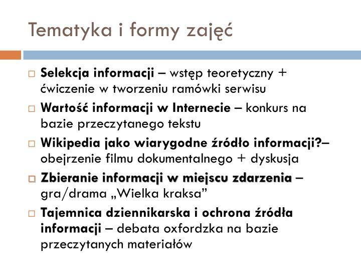 Tematyka i formy zajęć