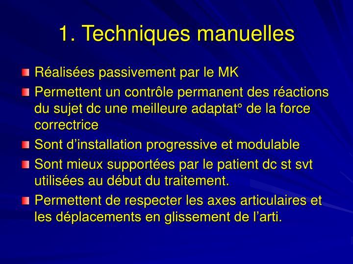 1. Techniques manuelles