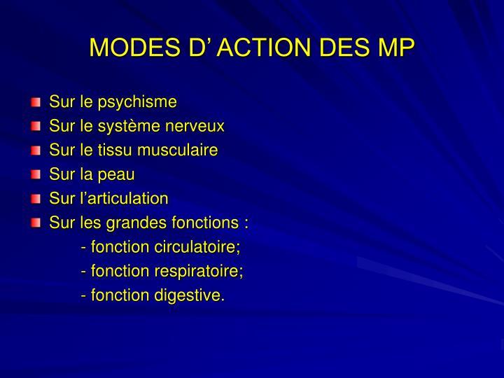 MODES D' ACTION DES MP