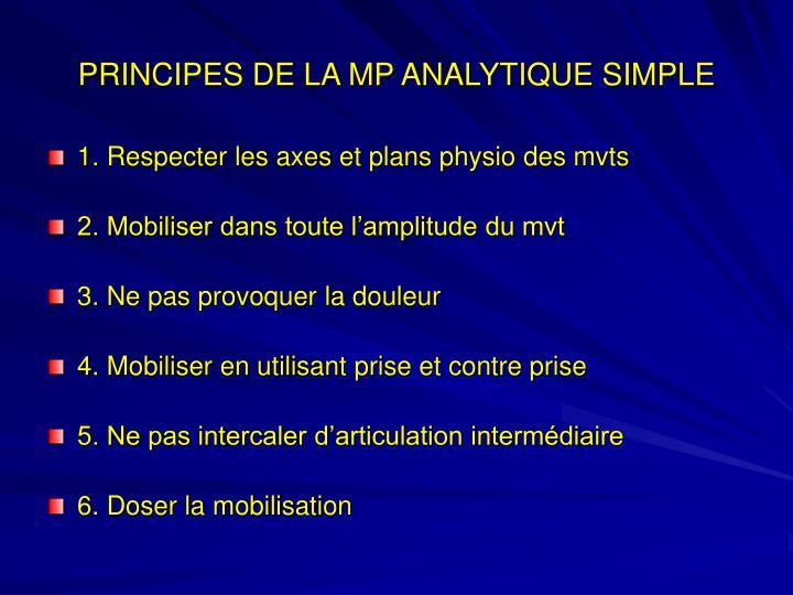 PRINCIPES DE LA MP ANALYTIQUE SIMPLE