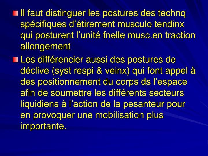 Il faut distinguer les postures des technq spécifiques d'étirement musculo tendinx qui posturent l'unité fnelle musc.en traction allongement