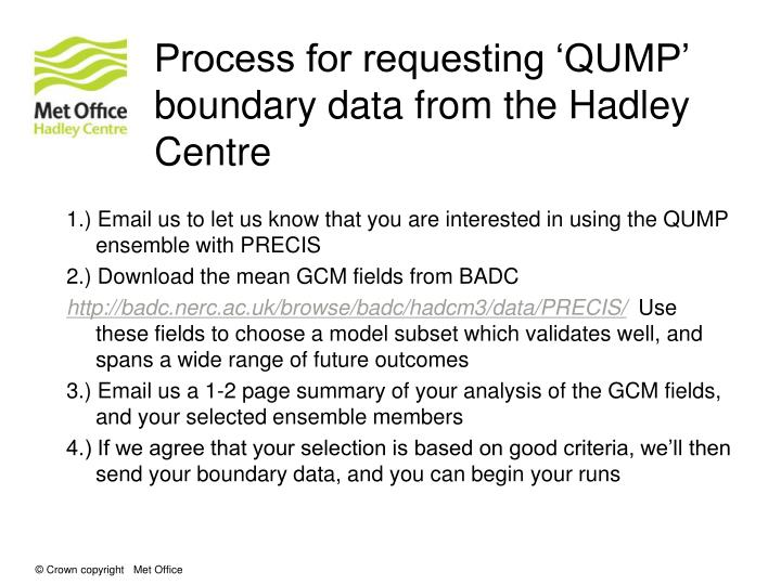 Process for requesting 'QUMP' boundary data from the Hadley Centre