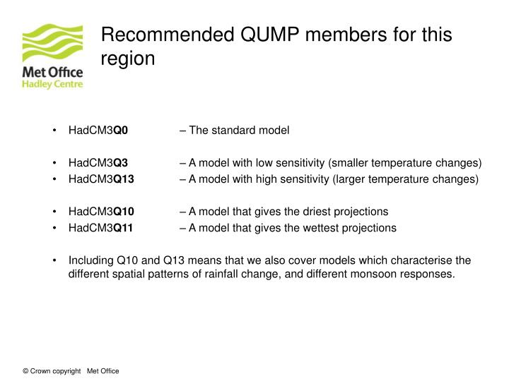 Recommended QUMP members for this region