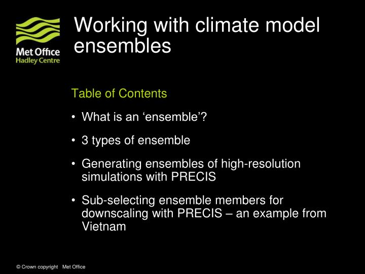 Working with climate model ensembles