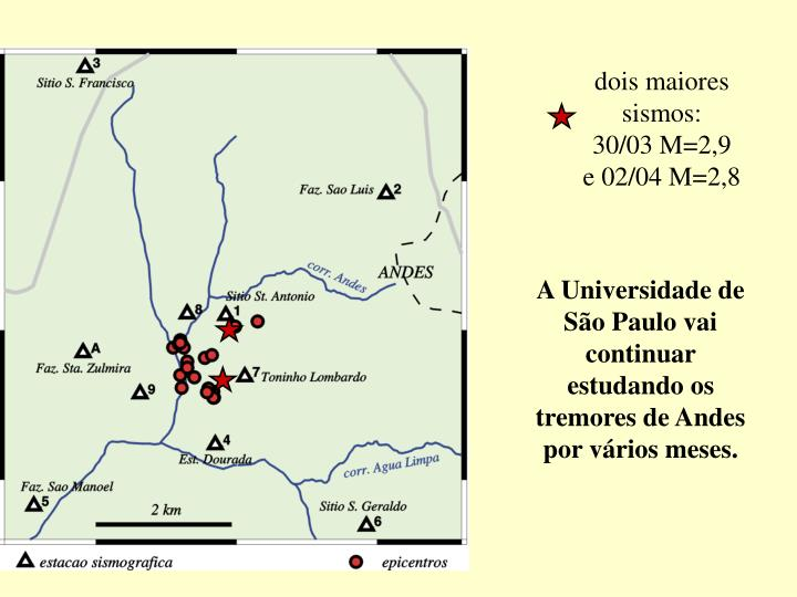 dois maiores sismos: