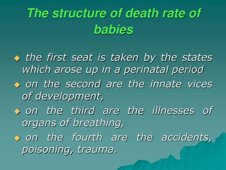 The structure of death rate of babies