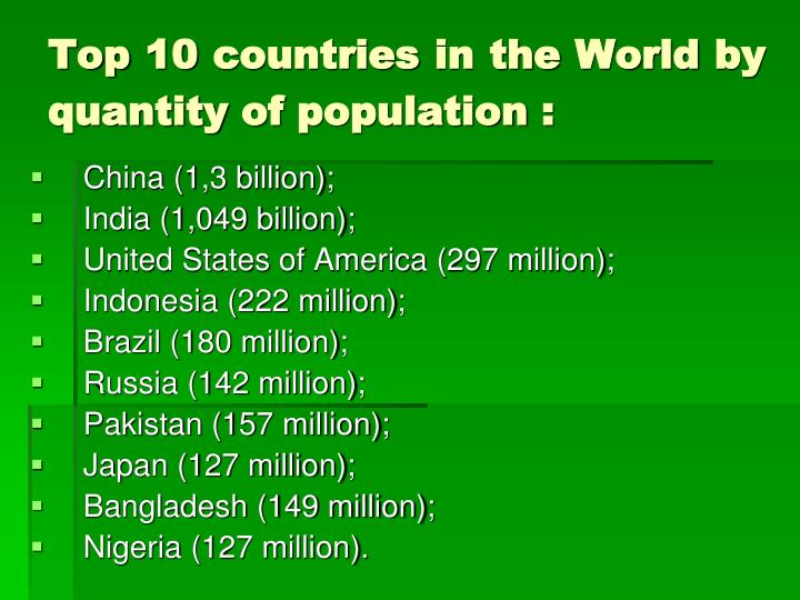 Top 10 countries in the World by quantity of population :