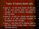 types of babies death rate