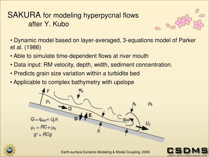 Dynamic model based on layer-averaged, 3-equations model of Parker et al. (1986)