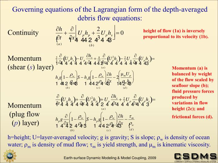 Governing equations of the Lagrangian form of the depth-averaged debris flow equations: