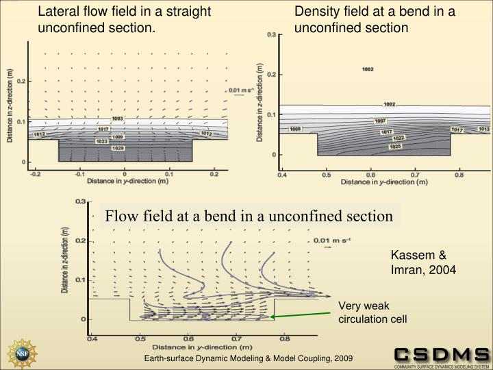 Lateral flow field in a straight unconfined section.