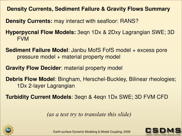 Density Currents, Sediment Failure & Gravity Flows Summary