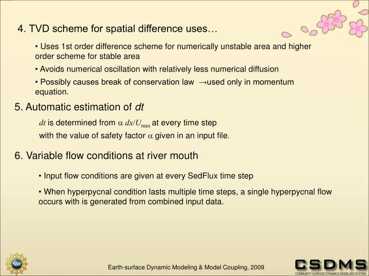 4. TVD scheme for spatial difference uses…