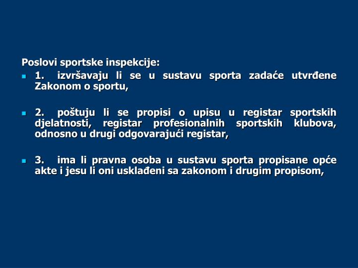 Poslovi sportske inspekcije: