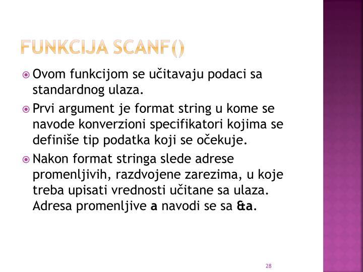 Funkcija scanf()