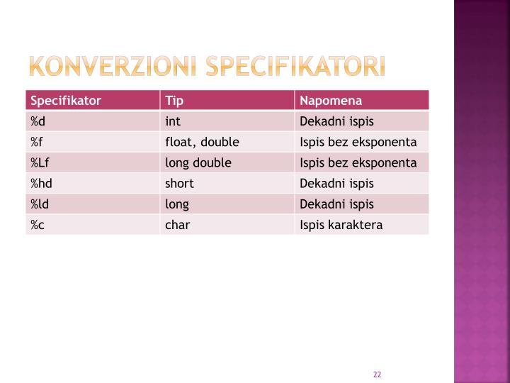 Konverzioni specifikatori