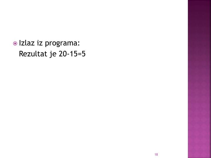 Izlaz iz programa: