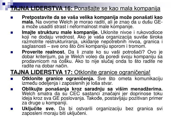 TAJNA LIDERSTVA 16: