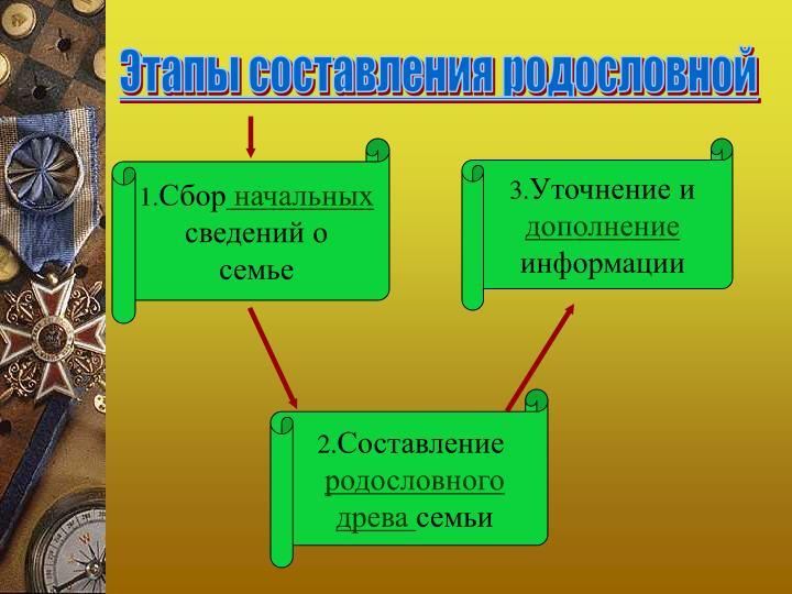Этапы составления родословной