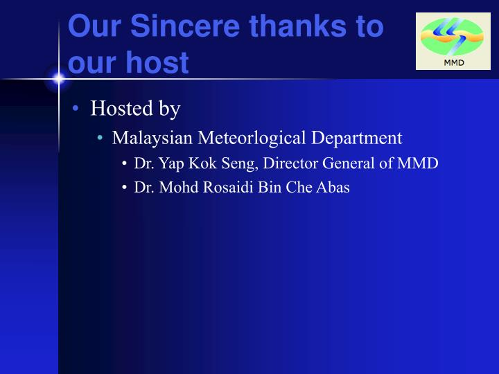 Our Sincere thanks to