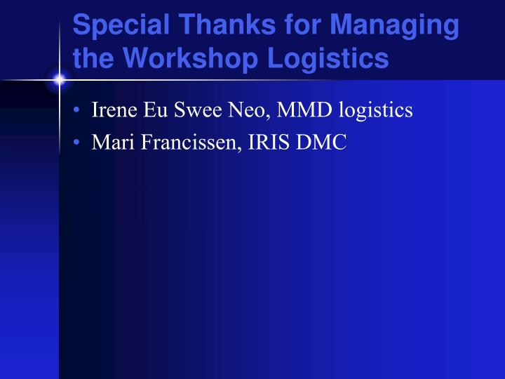 Special Thanks for Managing the Workshop Logistics