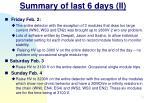 summary of last 6 days ii