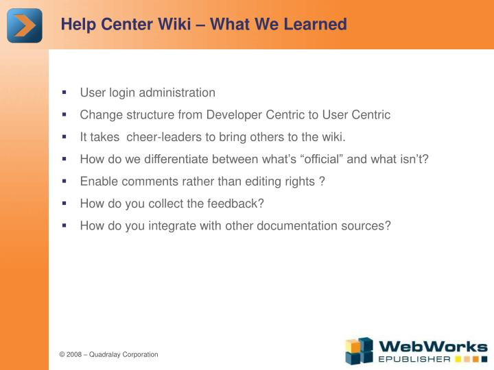 Help Center Wiki – What We Learned