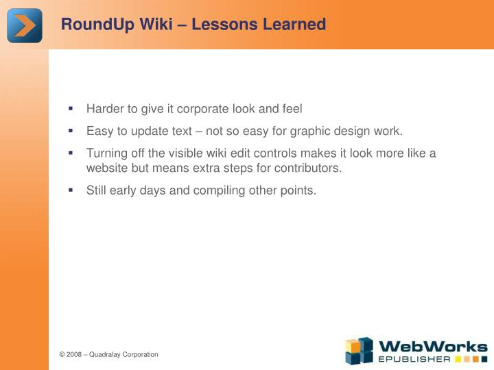 RoundUp Wiki – Lessons Learned