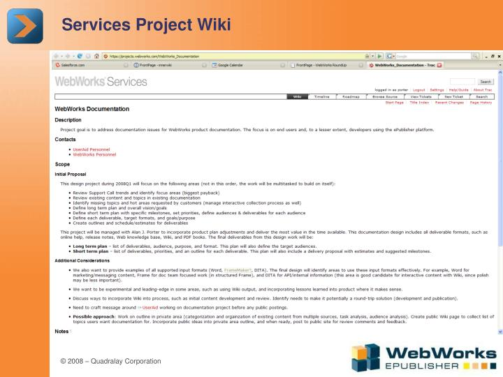 Services Project Wiki