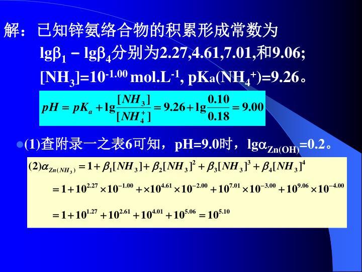 解:已知锌氨络合物的积累形成常数为