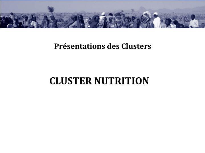 Présentations des Clusters