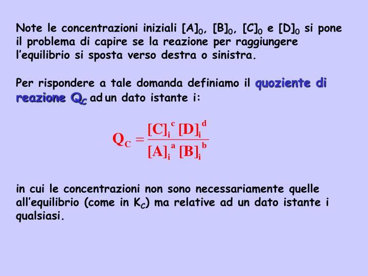 Note le concentrazioni iniziali [A]