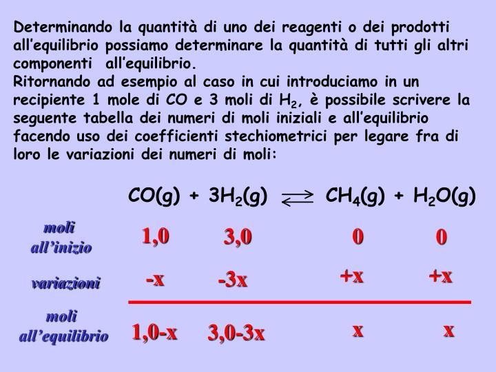 Determinando la quantità di uno dei reagenti o dei prodotti all'equilibrio possiamo determinare la quantità di tutti gli altri componenti  all'equilibrio.
