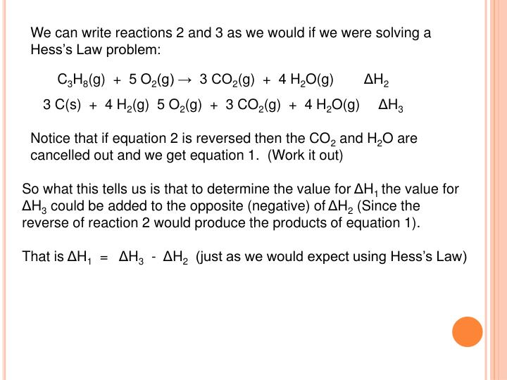 We can write reactions 2 and 3 as we would if we were solving a Hess's Law problem: