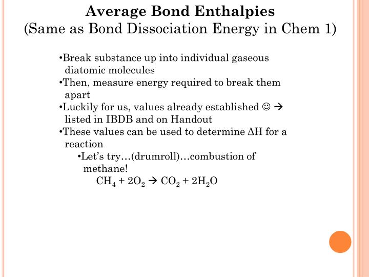Average Bond Enthalpies