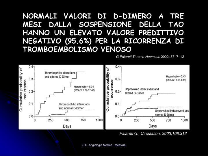NORMALI VALORI DI D-DIMERO A TRE MESI DALLA SOSPENSIONE DELLA TAO HANNO UN ELEVATO VALORE PREDITTIVO NEGATIVO (95.6%) PER LA RICORRENZA DI TROMBOEMBOLISMO VENOSO