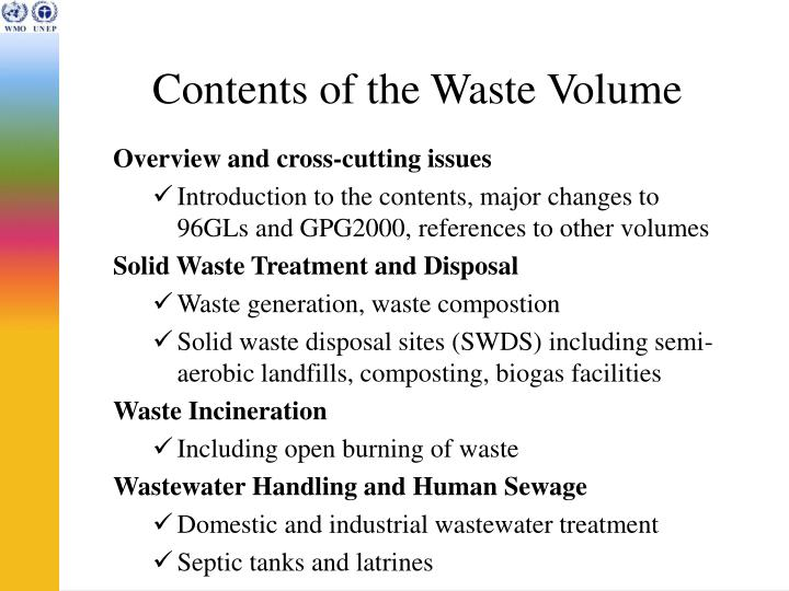 Contents of the waste volume