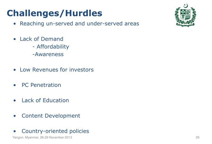 Challenges/Hurdles